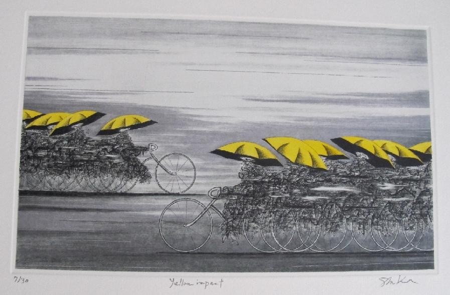 Kuroda Shigeki contemporary Japanese prints Yeloow Impact